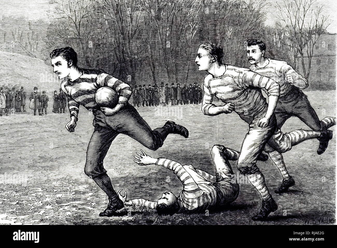 Illustration depicting Rugby football. The team sports rugby league and rugby union. Rugby union originated at Rugby School in Rugby, Warwickshire and rugby league originated in Huddersfield, West Yorkshire after splitting to form the Northern Rugby Football Union in 1895, today called the Rugby Football League. Rugby football (both league and union) is one of many versions of football played at English public schools in the 19th century - Stock Image