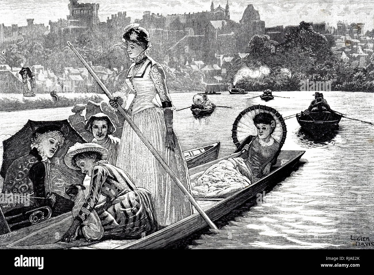 Illustration depicting 19th century, punting on an English river 1885 - Stock Image