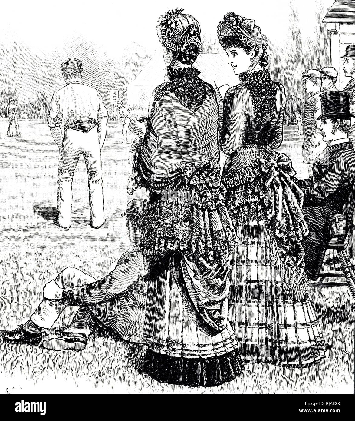 Illustration depicting a 19th-century cricket match with women watching - Stock Image