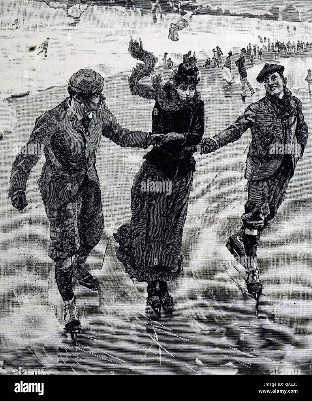 Illustration depicting 19th century, ice-skaters - Stock Image