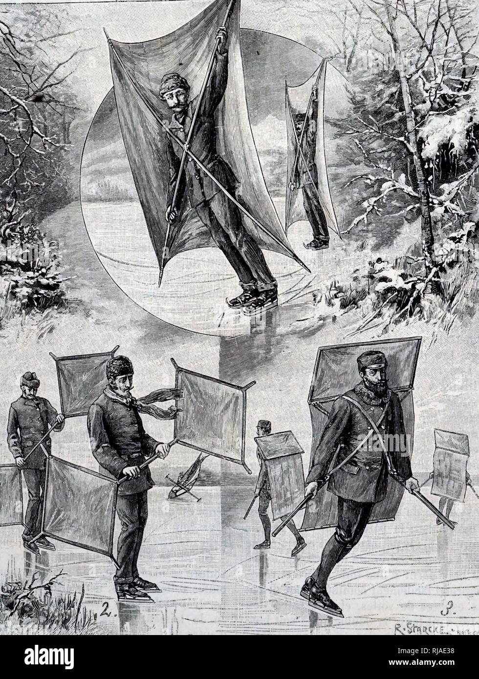 19th century, Illustration depicting, sails used by ice-skaters - Stock Image