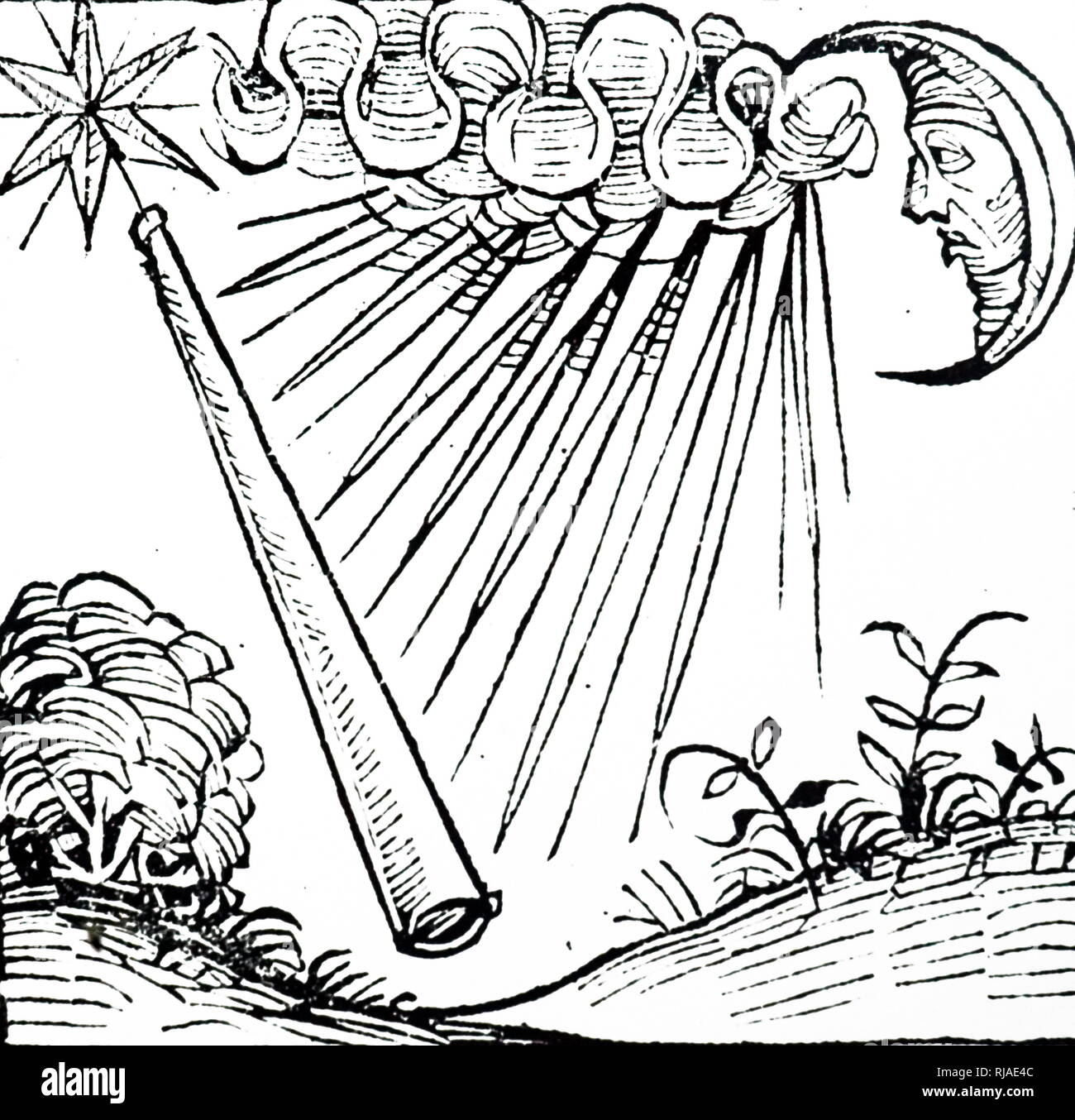 Illustration showing a violent storm and lightning as a thunderbolt flashes. depicted in the Nuremberg Chronicle. 1493. Stock Photo