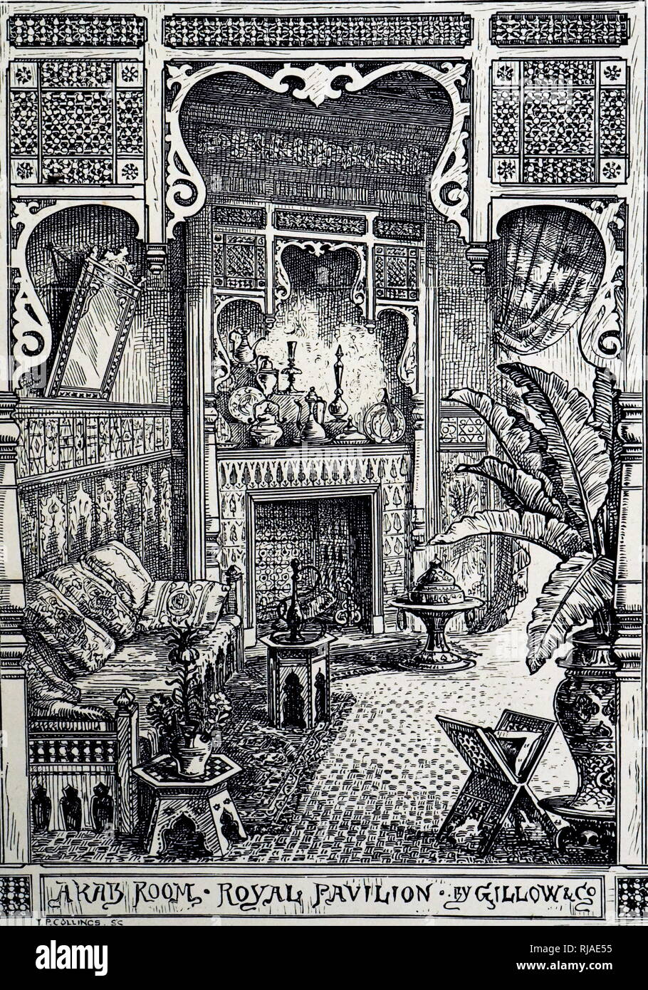 19th century advertisement, for Arab style interiors by 'Gillow & Co' for the International Exhibition; London; 1884 - Stock Image