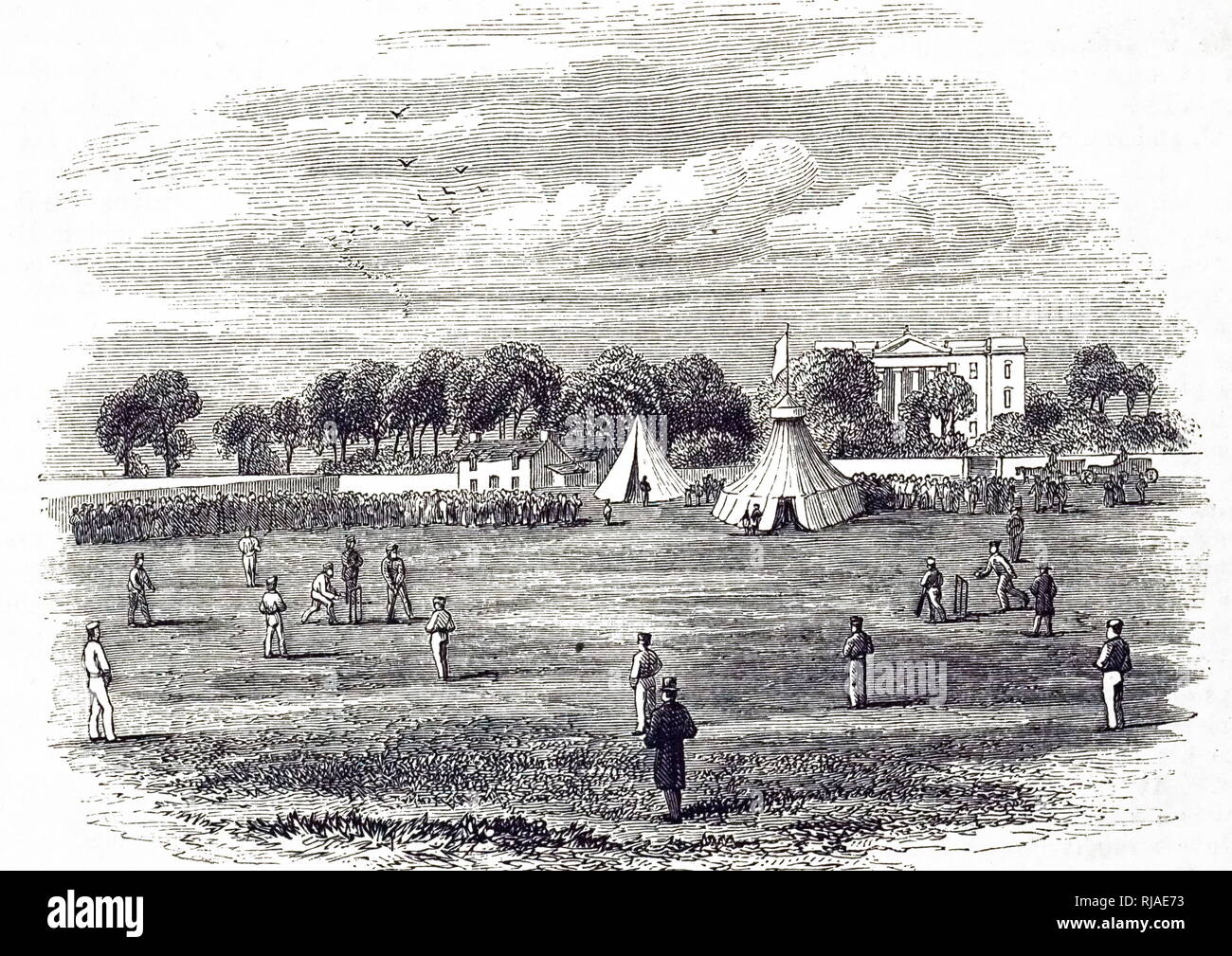 Illustration showing a game of Cricket. 1857 - Stock Image