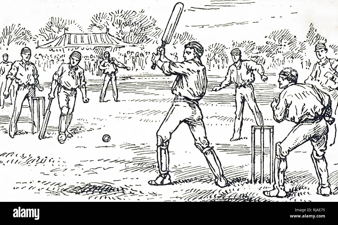 Illustration showing a game of Cricket. 1895 - Stock Image