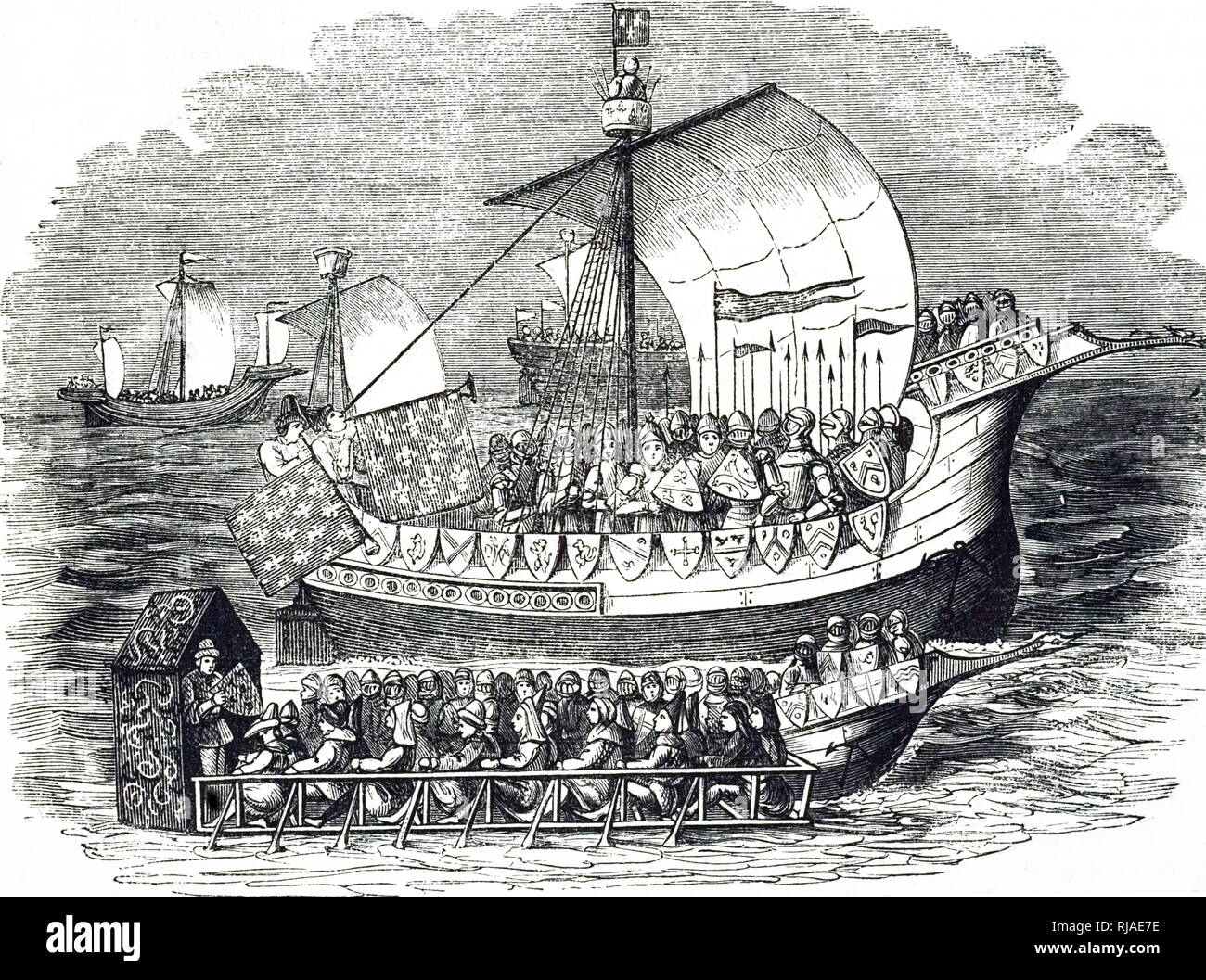 Illustration showing a fifteenth-century warship and galley. 1851 - Stock Image