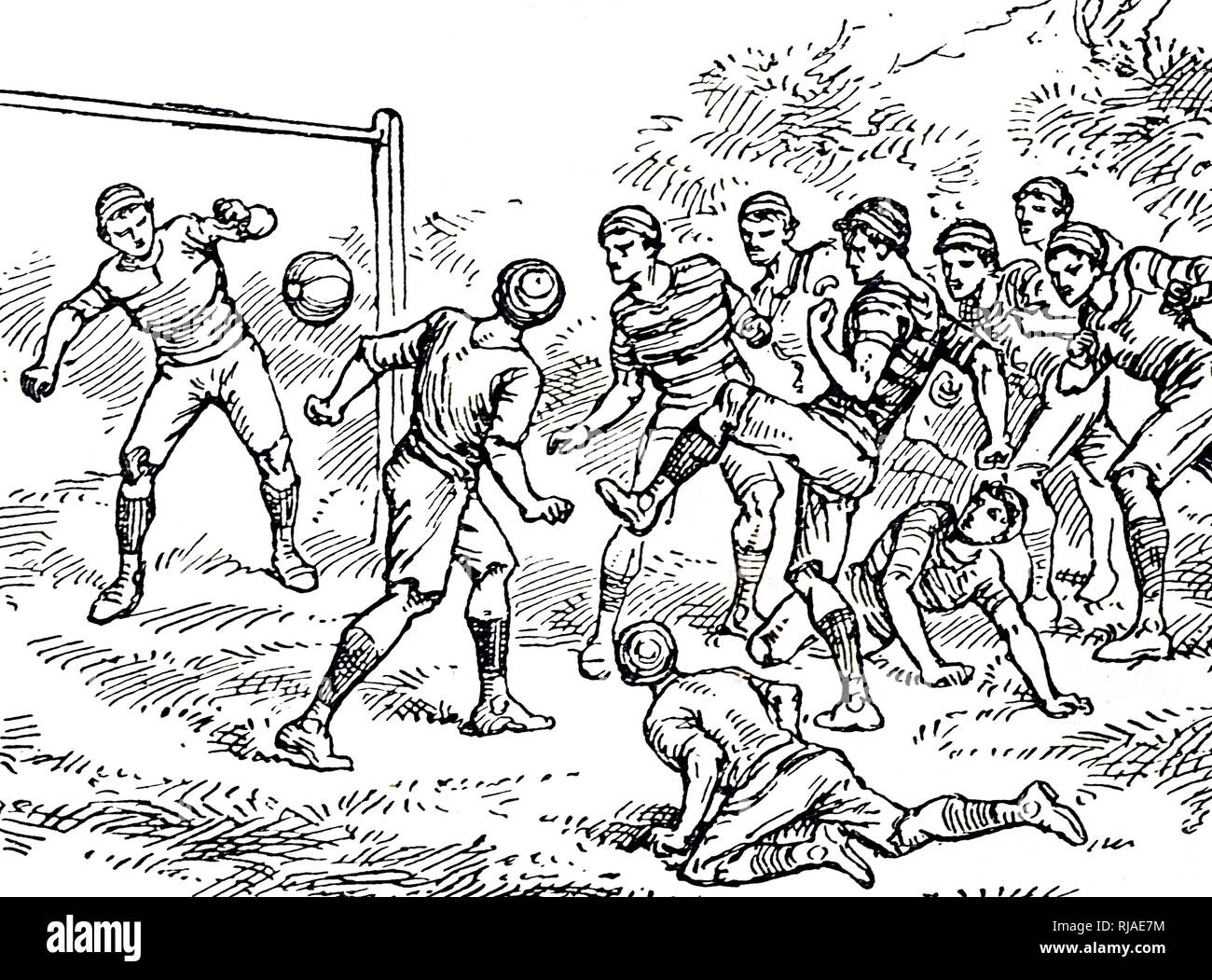 Illustration showing a game of Association Football. 1895 - Stock Image