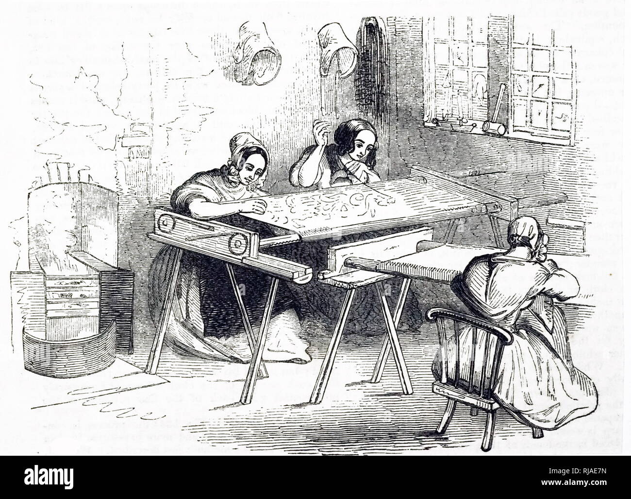 Illustration showing a Victorian, English, home worker with a sewing or embroidery bobbin working long hours for low pay.1843 - Stock Image