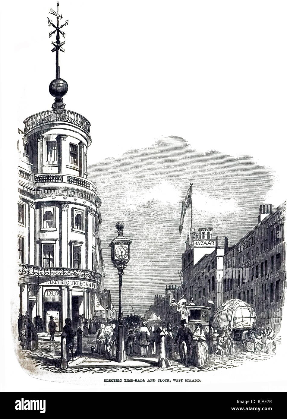 Time Ball at the Royal Observatory office in the Strand, London used for ships to set their chronometers. 1852 - Stock Image