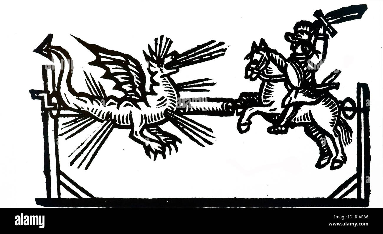 17th-century illustration of a firework showing St George and the Dragon. 1658 - Stock Image