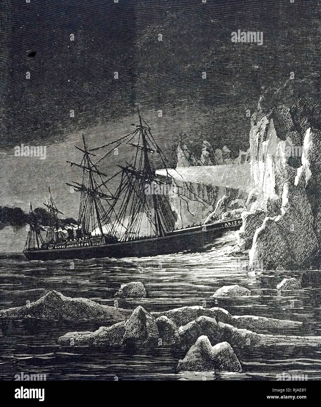An engraving depicting the 'Arizona' striking an iceberg at night about 300 miles from St John's in 1879. The ship was in good enough condition to make her way back to Newfoundland for repairs. Dated 19th century - Stock Image