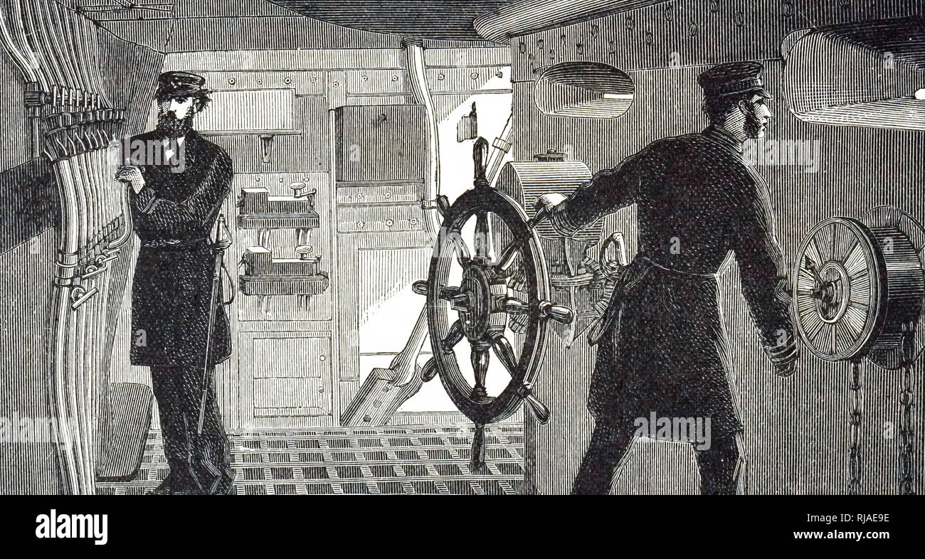 An engraving depicting the bridge of HMS Inflexible (launched 1876), showing the speaking tubes for communicating with other parts of the ship. Dated 19th century - Stock Image