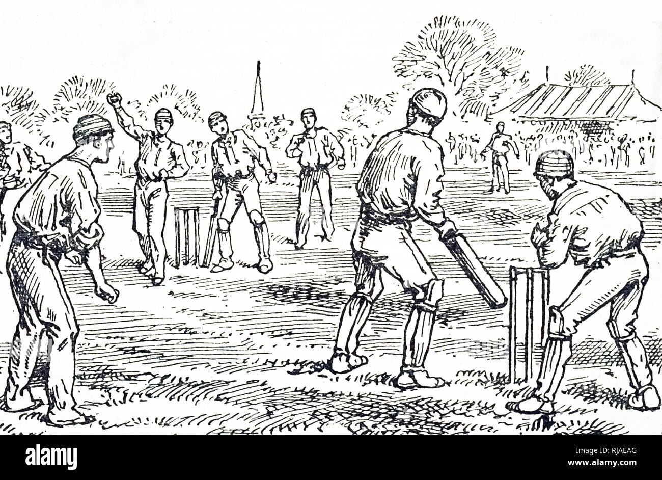 An engraving depicting a cricket game in progress. Dated 19th century - Stock Image