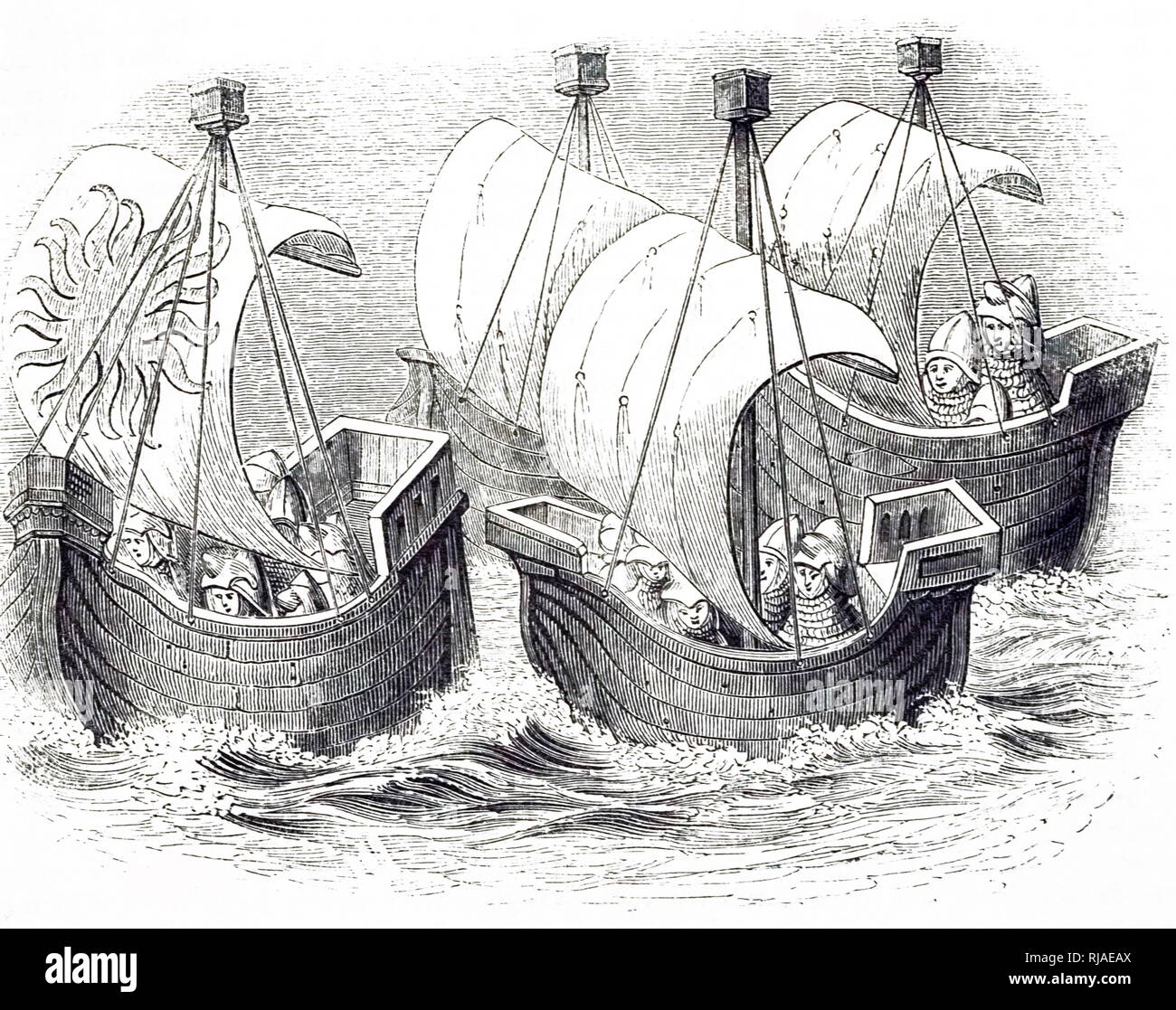 An engraving depicting ships at the time of Richard II. Dated 19th century - Stock Image