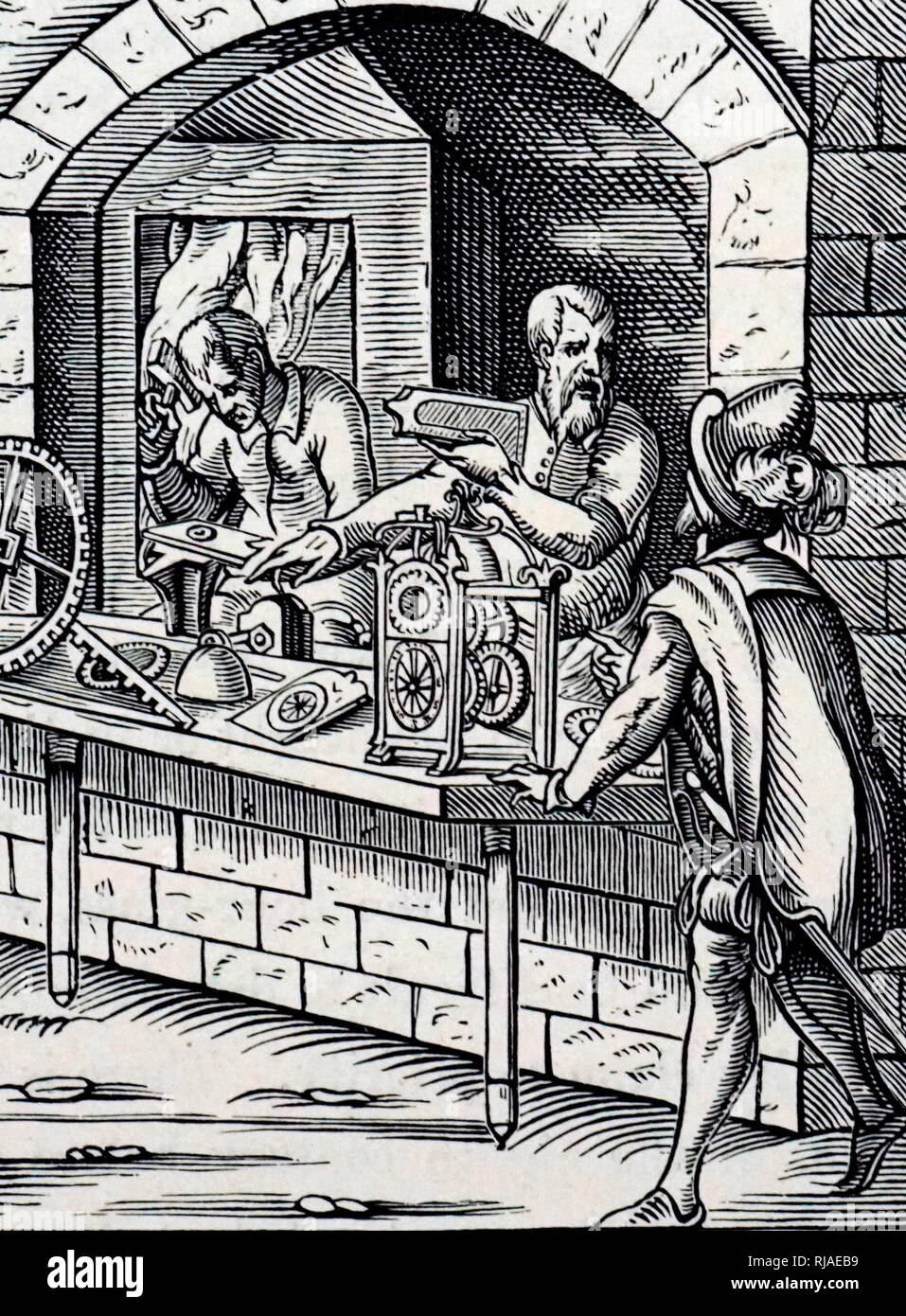 A woodcut engraving depicting a clockmaker by Jost Amman (1539-1591) a Swiss-German artist. Dated 16th century - Stock Image