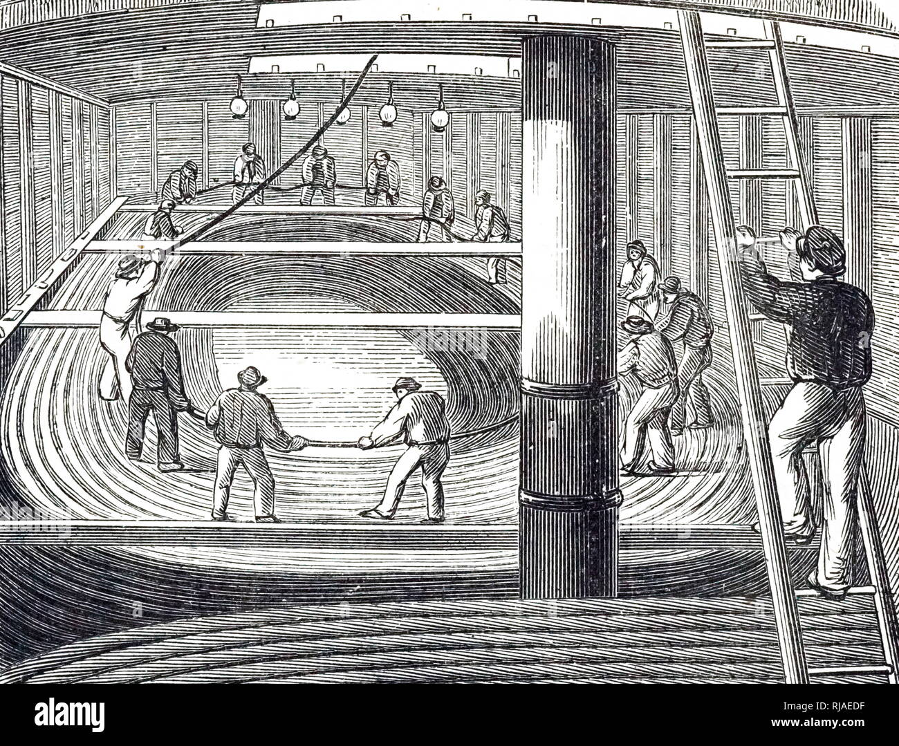 Illustration showing the submarine telegraph cable between England and Belgium being laid out from the hold of the 'William Hutt'; 1853 - Stock Image