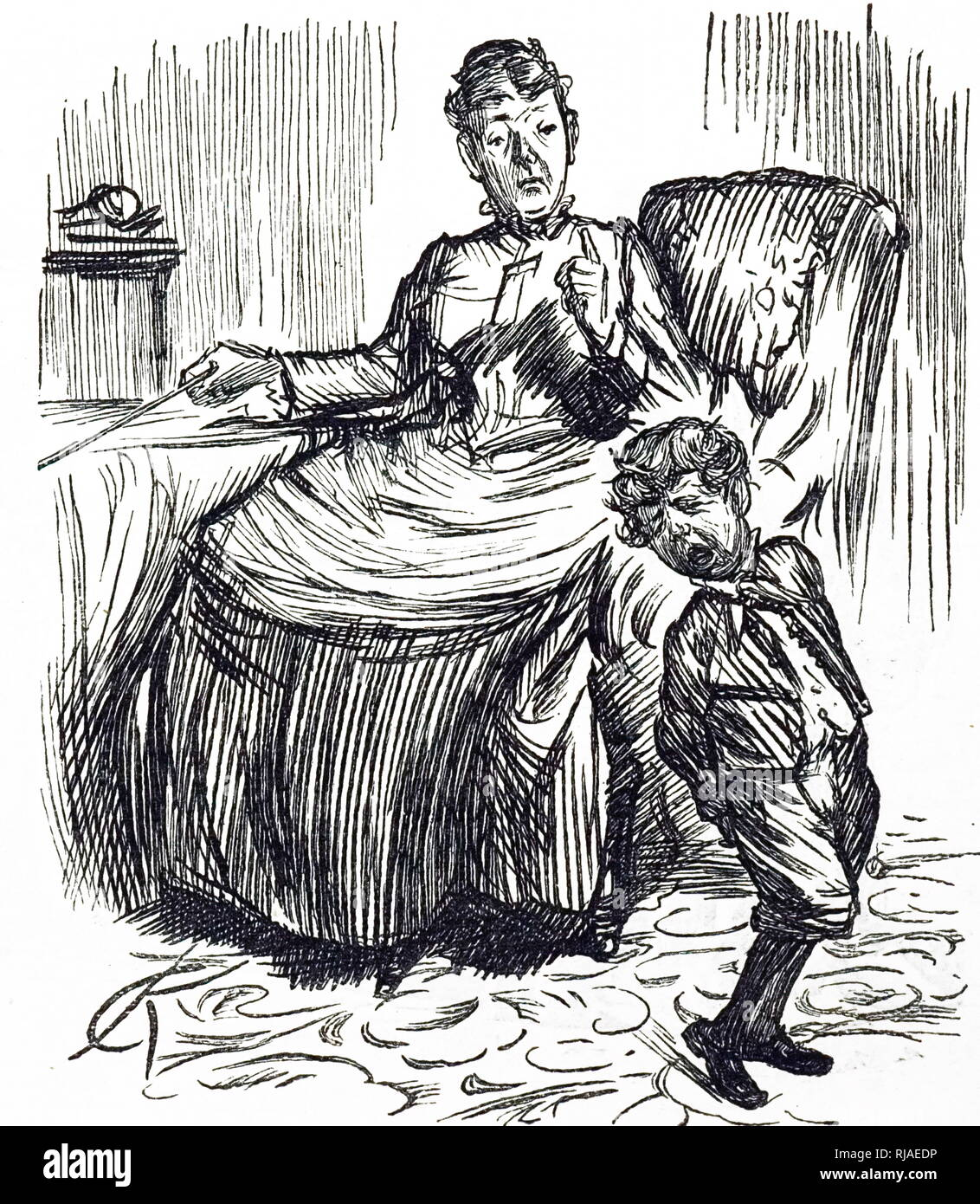 Cartoon by Charles Samuel Heene, (1823-1891), showing a Victorian Era mother, punishing a naughty boy. 1888 Stock Photo