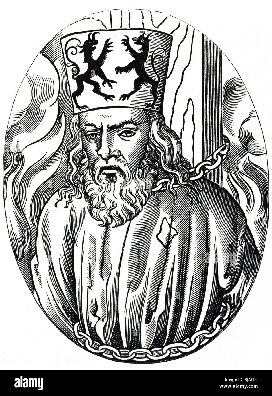 Woodcut portrait of the death of Jerome of Prague (1379 - 1416), a Czech scholastic philosopher, theologian, reformer, and professor. Jerome was one of the chief followers of Jan Hus and was burned for heresy at the Council of Constance. - Stock Image