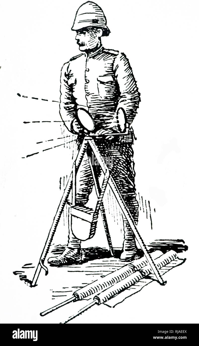 Illustration showing a British soldier signalling with a heliograph. Heliographs were used during the Zulu, Afghan and South African campaigns, and during 1882 signals were sent from the Great Pyramid to Cairo, Signals were sent as far as 190 miles. 1904 - Stock Image