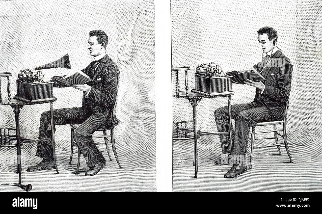 Illustration of an Edison Phonograph used to learn languages. Left: Recording the voice. Right: listening to the recording. 1893 - Stock Image