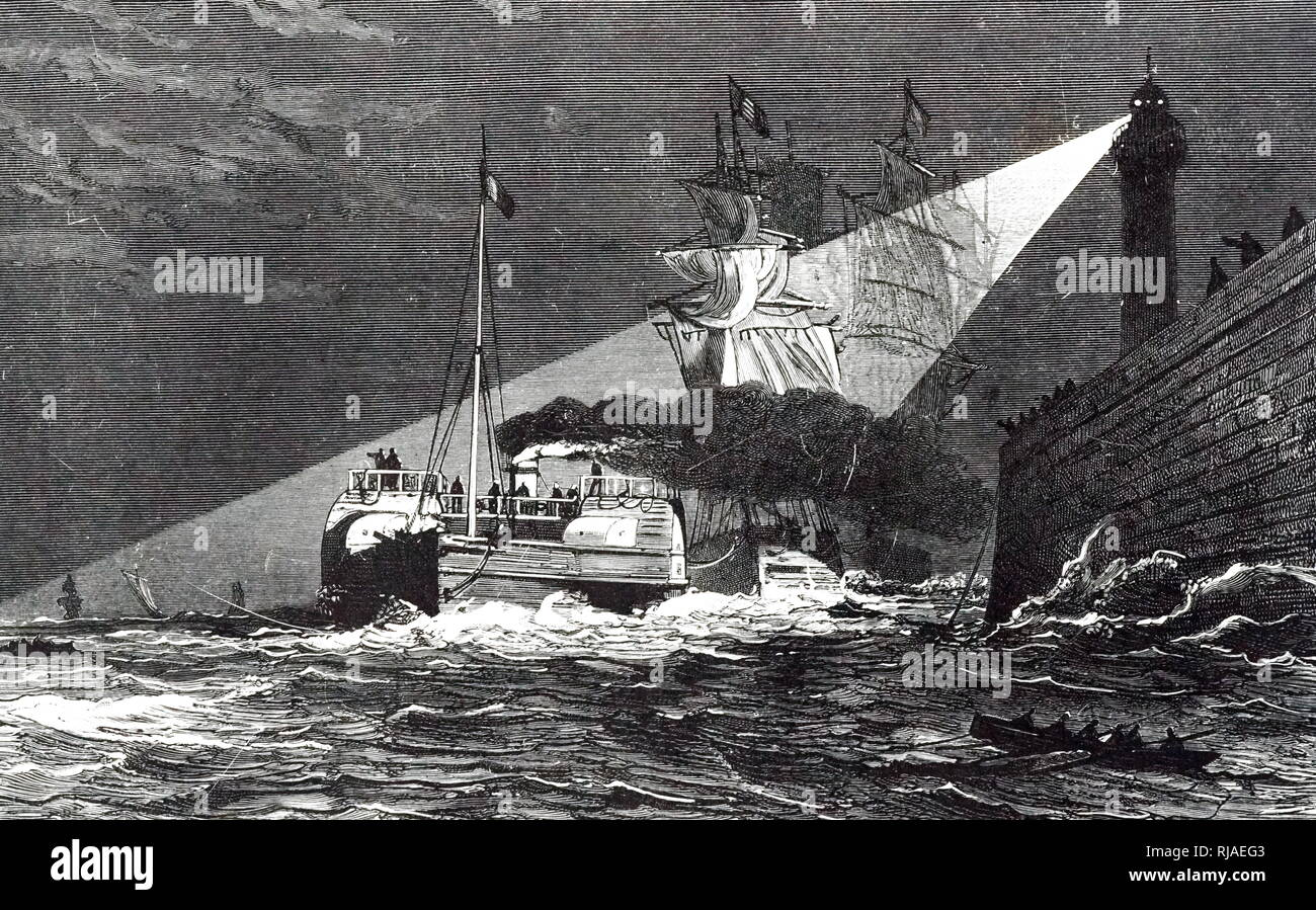 An engraving depicting a tug towing a ship into the harbour at night, its path lit by arc lights. The coming of powerful electric light meant that boats could take advantage of the high tide at night as well as during the day. Dated 19th century - Stock Image
