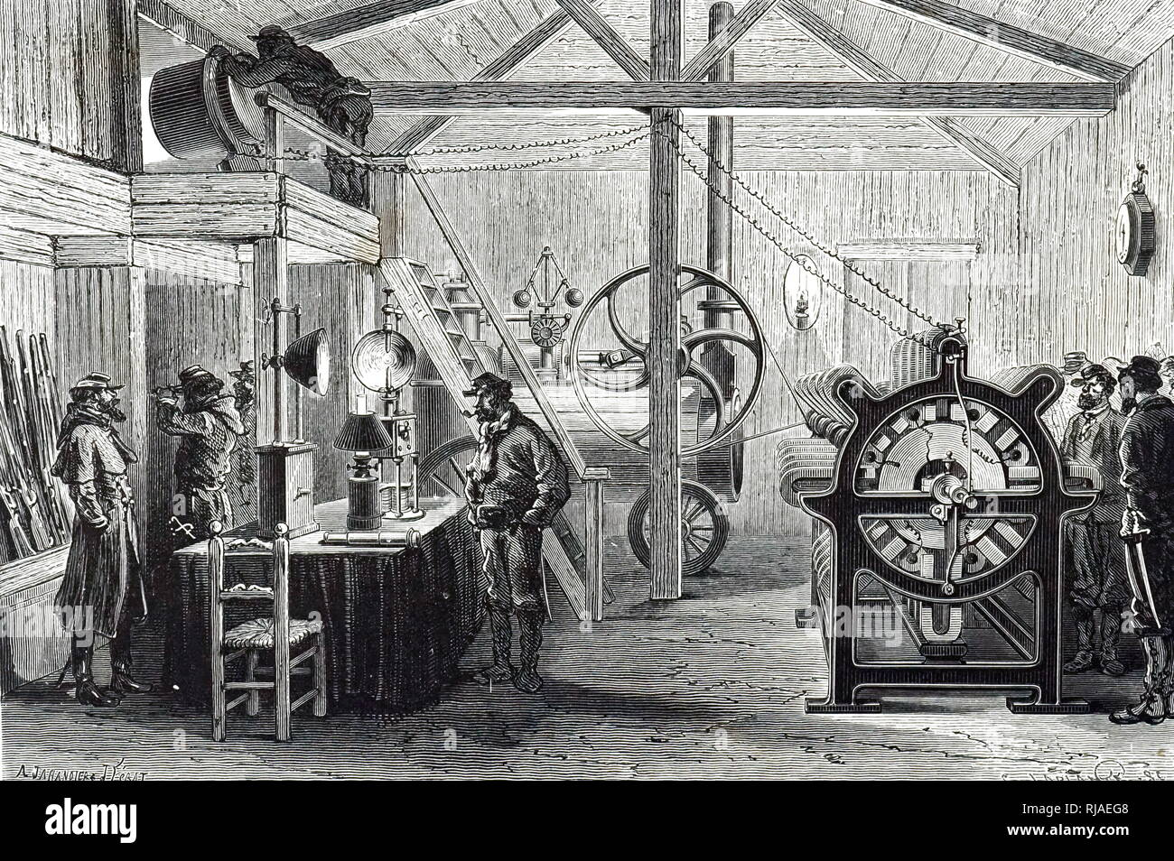 An engraving depicting an appliance generator being used to supply light at Montmartre during the Siege of Paris using a steam engine as a source of power. At the top left of the picture, a searchlight directed on some distant object which is being observed by the soldier directly below. On the table are two carbon arc lamps in addition to an oil lamp. Dated 19th century - Stock Image