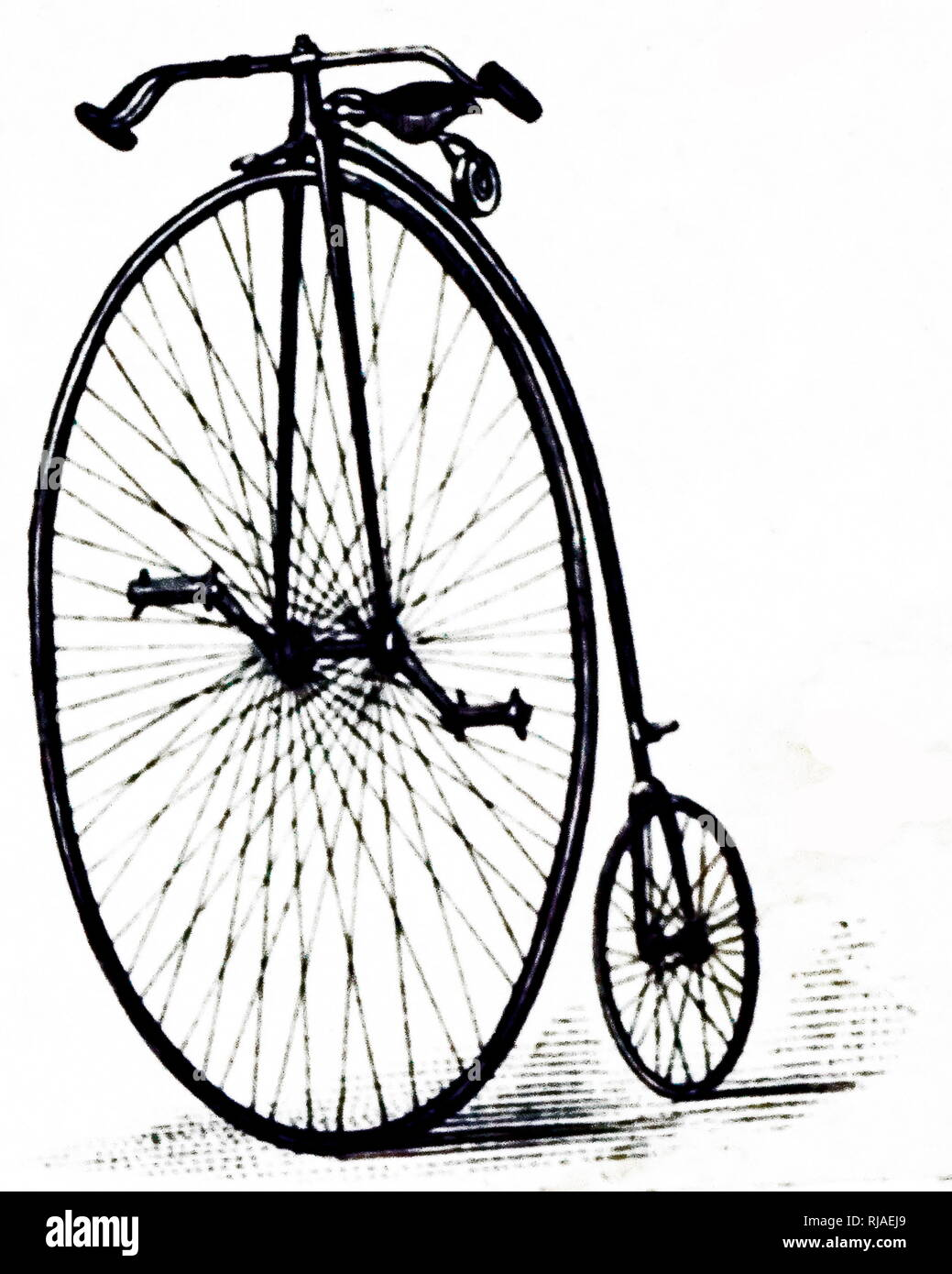 An engraving depicting the King of Clubs model of the penny-farthing. Dated 19th century - Stock Image