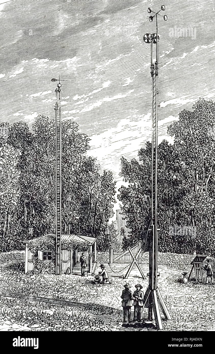 An engraving depicting the Meteorological Observatory at Saint-Marie-du-Mont, Mache, France. In the foreground is an anemometer with Robinson's cups. Dated 19th century - Stock Image
