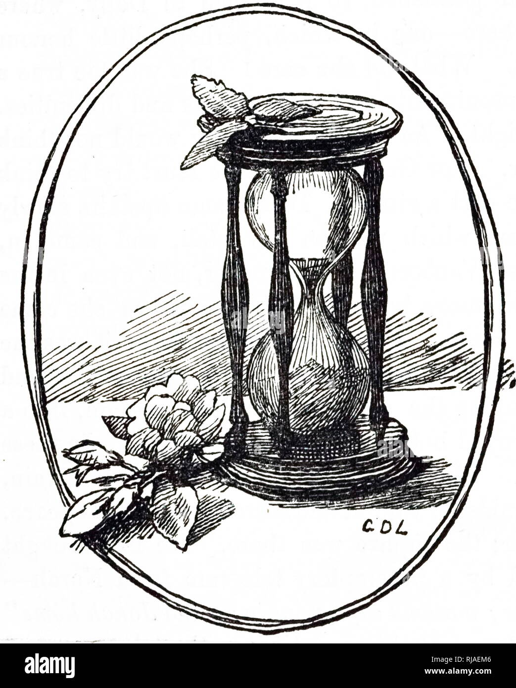 An engraving depicting an hourglass. Dated 19th century - Stock Image
