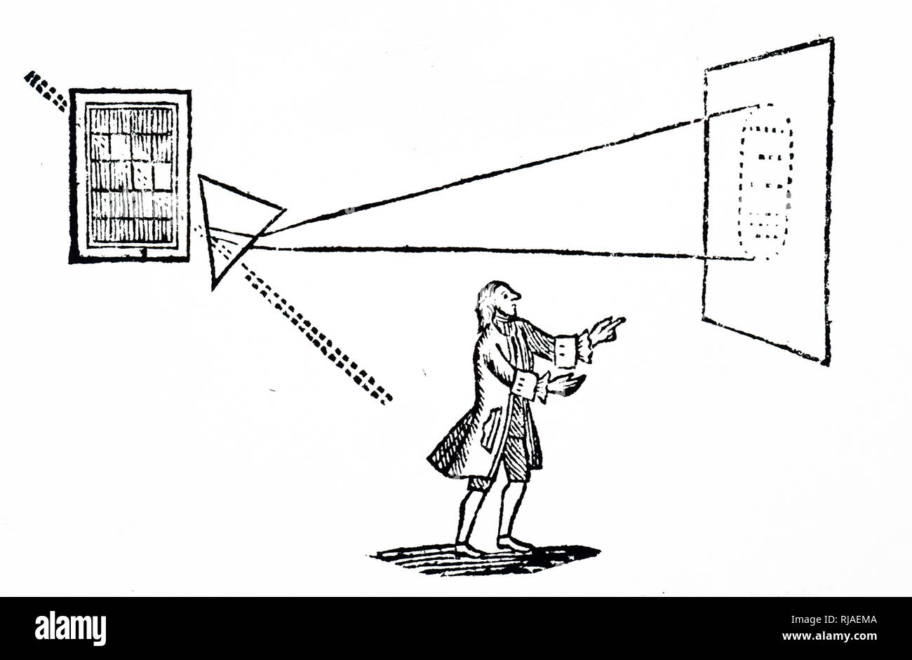 An engraving depicting Isaac Newton's experiment showing how a prism refracted a beam of light and broken down into the colours of the spectrum (right). The dotted line indicates the beam of light coming through the window, and the path it would take if not refracted by the prism. Dated 18th century - Stock Image