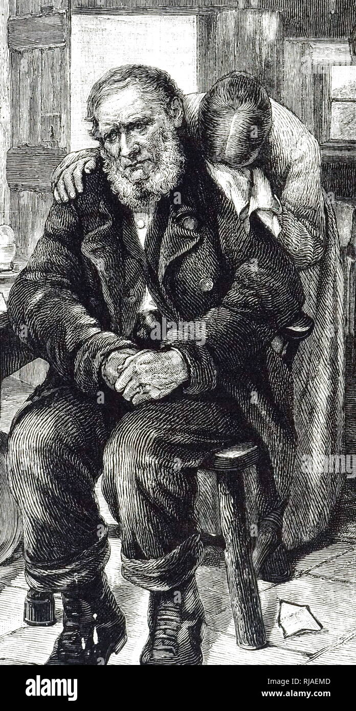 An engraving depicting a mother and father grieving the loss of their son killed in action. Dated 19th century - Stock Image