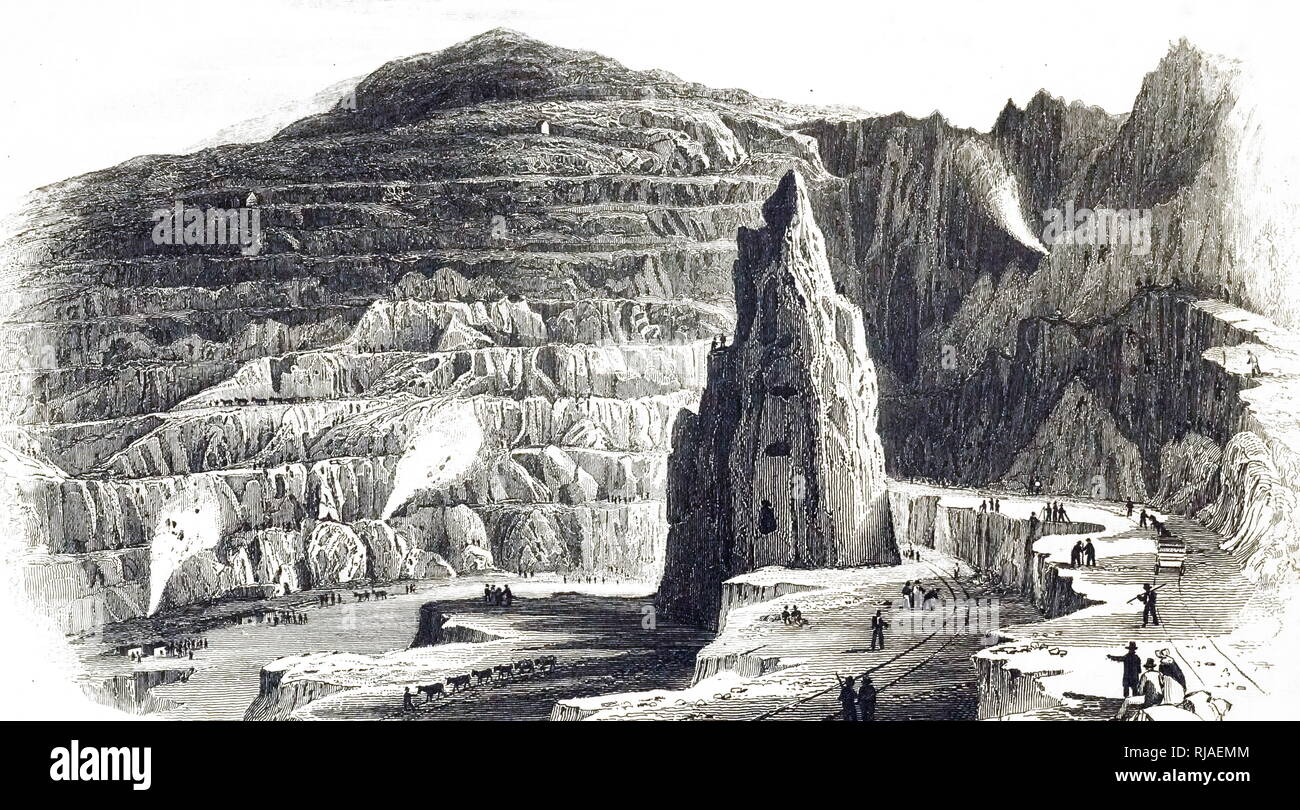 An engraving depicting a slate quarry in North Wales. Three explosive charges were detonated. Illustrated by Thomas Hosmer Shepherd (1792-1864) a topographical watercolour artist. Dated 19th century - Stock Image