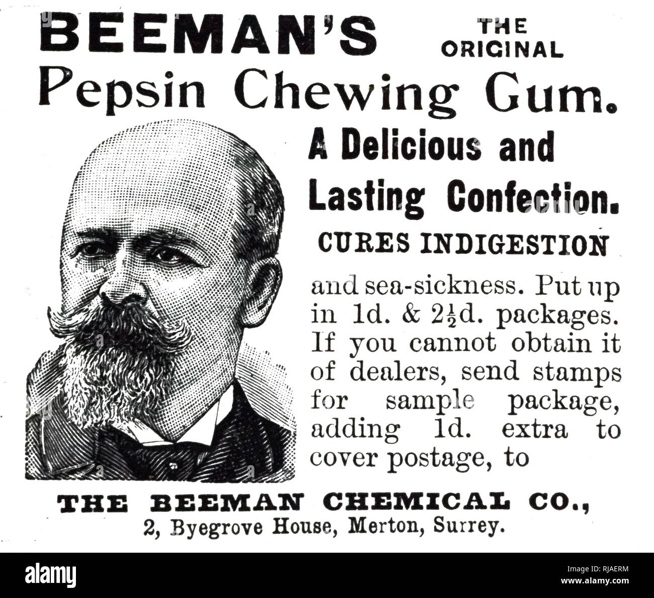 An advertisement for Beeman's Pepsin Chewing Gum. Dated 19th century - Stock Image