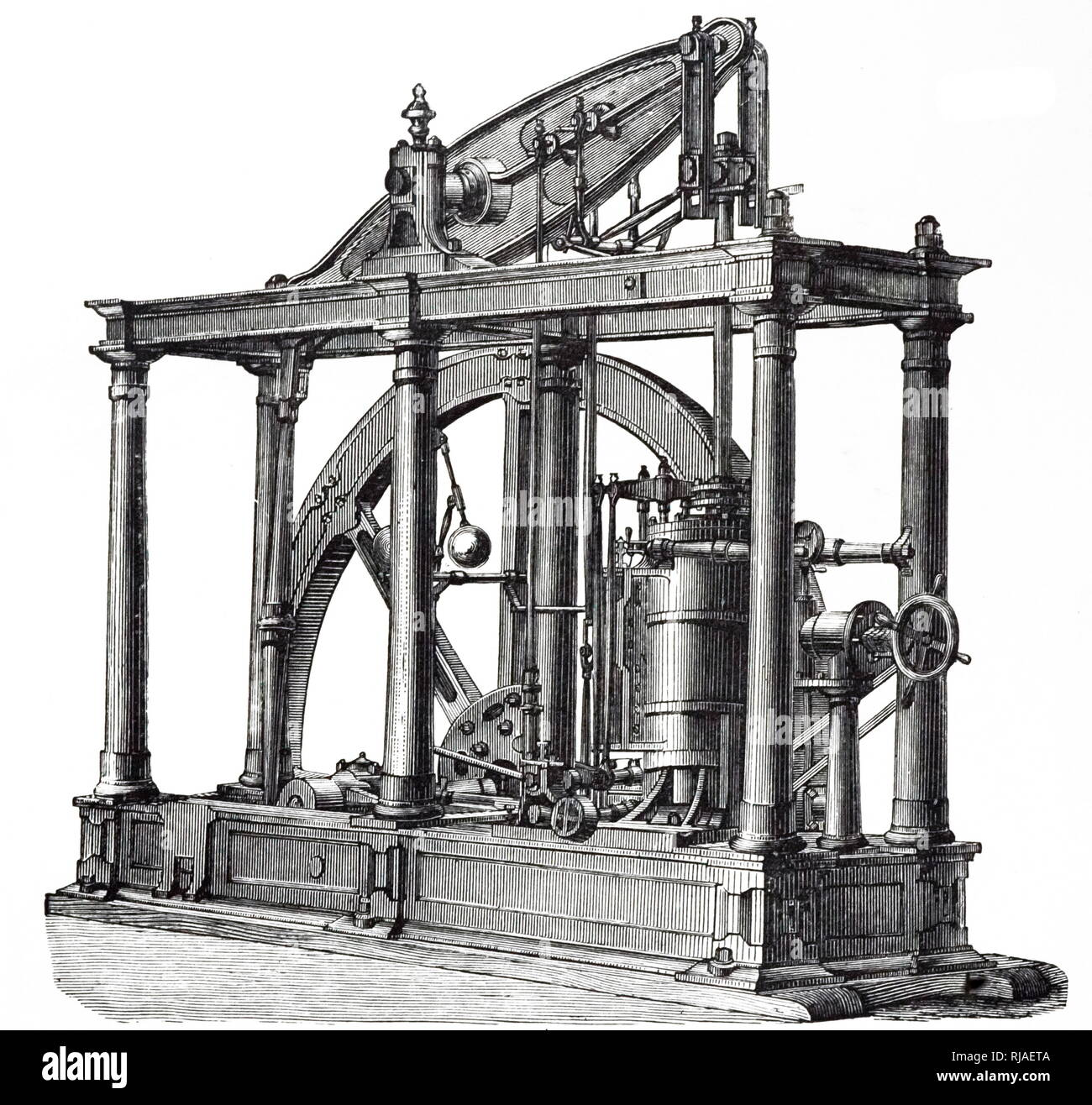 An engraving depicting a beam engine, a type of steam engine, suitable for working sugar mills or similar heavy machinery. Dated 19th century - Stock Image