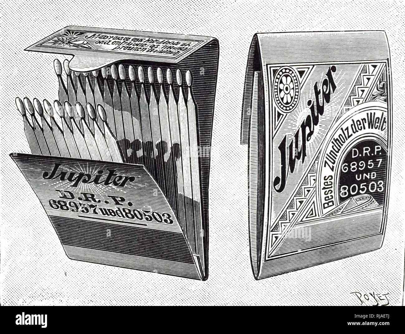 An engraving depicting a book of safety matches, which were much safer and more convenient than earlier non-safety matches and a vast improvement on the 'Promethean' matches which needed to be dipped into a portable phial of sulphuric acid. Dated 19th century - Stock Image