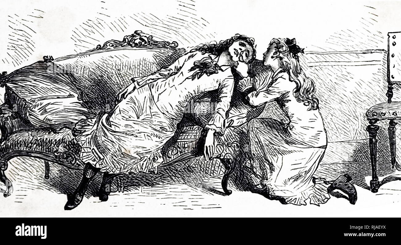 An engraving depicting a young girl who has suffered from syncope, a temporary loss of consciousness usually relating to insufficient blood flow to the brain. The other girl uses smelling salts to revive her friend. Dated 19th century - Stock Image