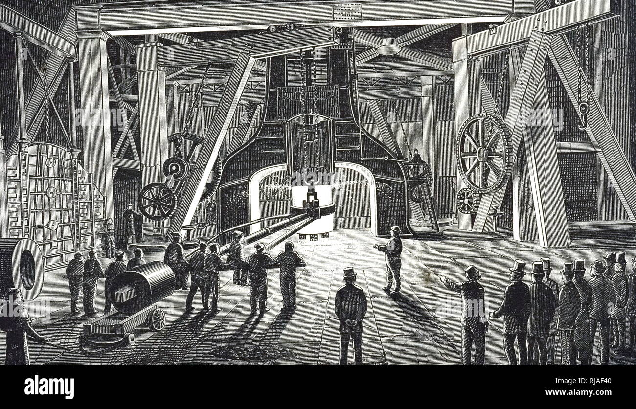 An engraving depicting James Nasmyth's Steam Hammer at the Royal Gun Factory, Woolwich. James Nasmyth (1808-1890) a Scottish engineer, philosopher, artist and inventor. Dated 19th century Stock Photo