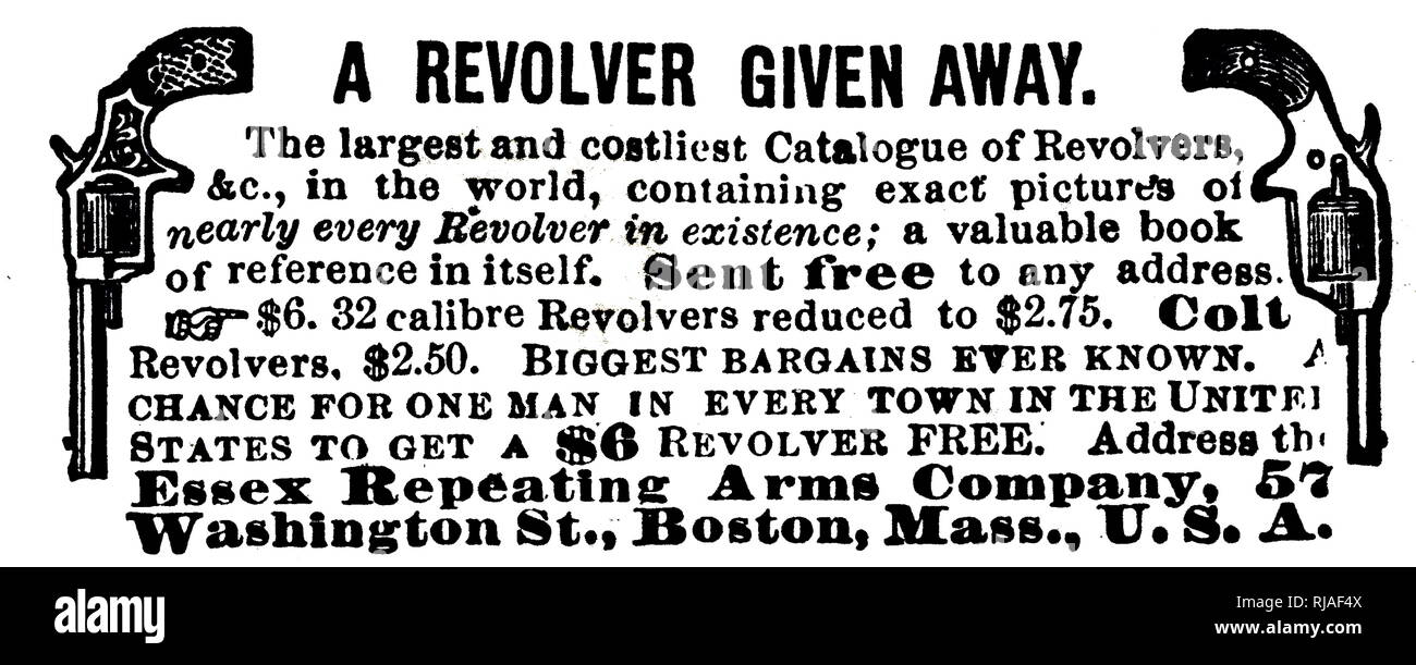 An advertisement for revolvers including colts. Dated 19th century - Stock Image