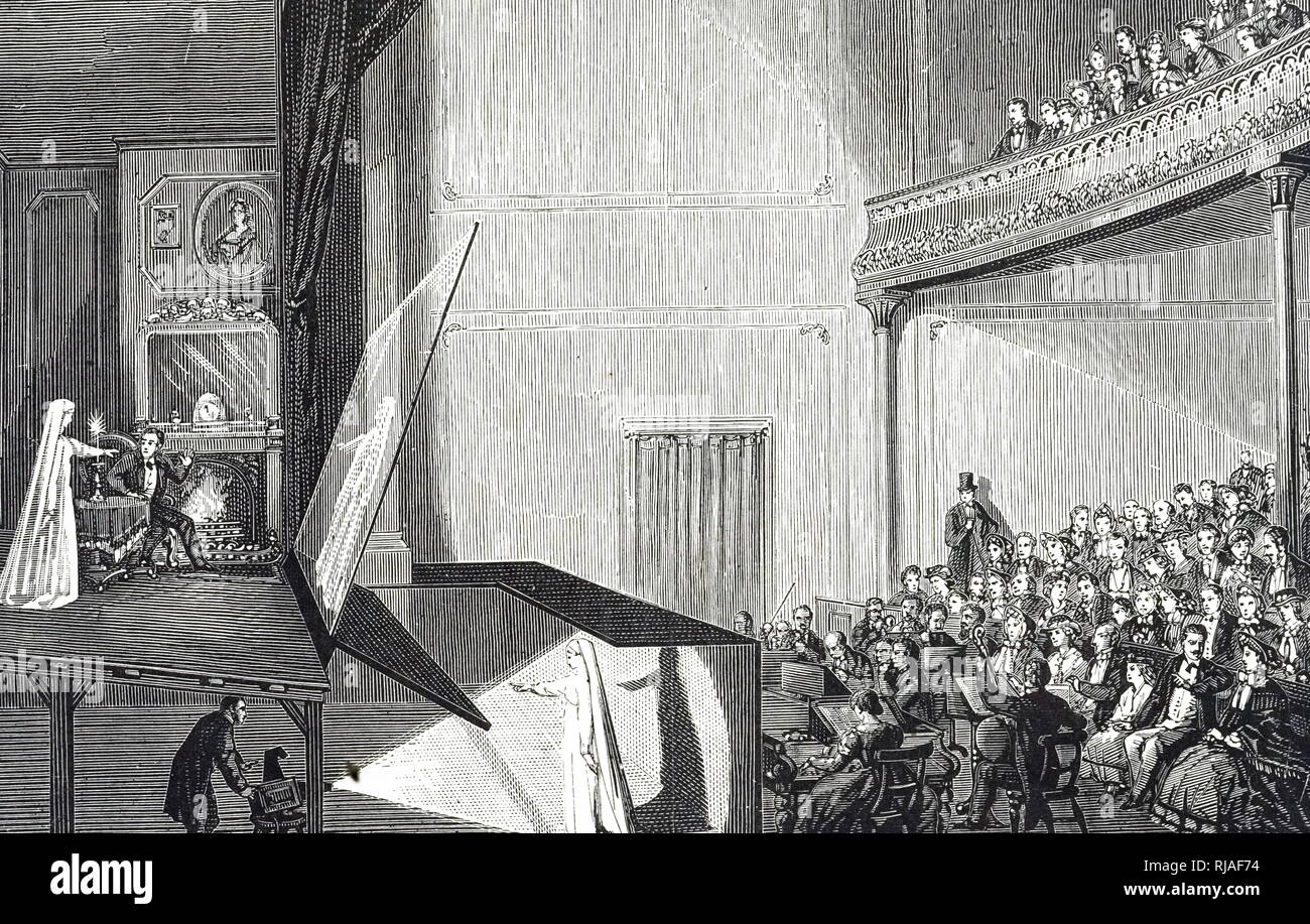 An engraving depicting Pepper's ghost, an illusion technique used to produce a ghostly image, named after John Henry Pepper. The 'Ghost' under the stage is lit and reflected by a mirror on to sheet glass in front of the stage. To the audience, the ghost appears to be on the stage. John Henry Pepper (1821-1900) a British scientist and inventor. Dated 19th century - Stock Image