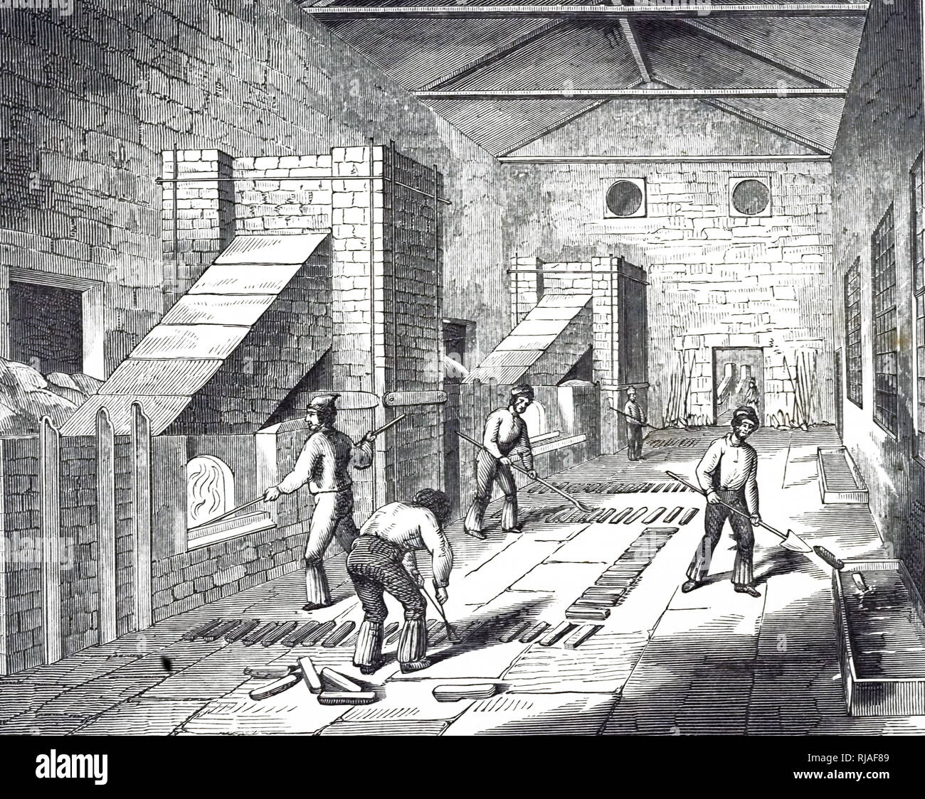 An engraving depicting the casting of purified copper into ingots, St Helens, Lancashire. Dated 19th century - Stock Image