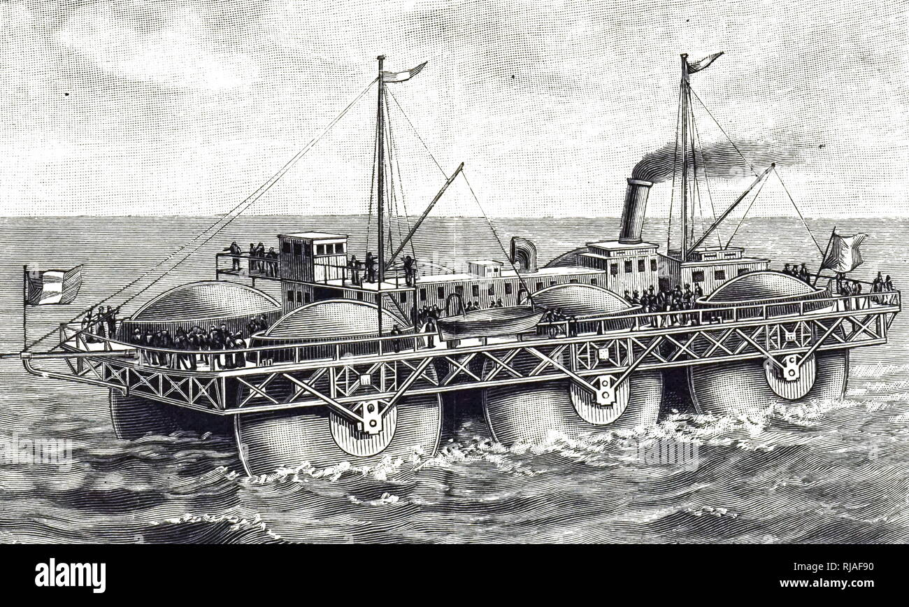 An engraving depicting the end elevation of a roller ship by Ernest Bazin - designed as a Channel steamer. Dated 19th century - Stock Image