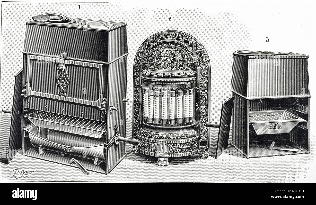 An engraving depicting a collection of Le Roy's electric heating elements fitted in cookers and a fire. These elements were of wire wound around a ceramic base. Dated 20th century - Stock Image