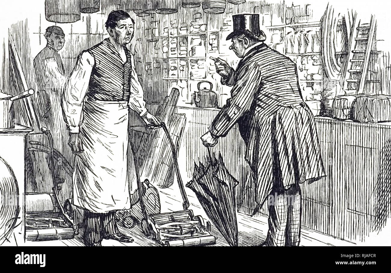 A cartoon commenting on the increasing popularity of the lawn mower. Dated 19th century Stock Photo