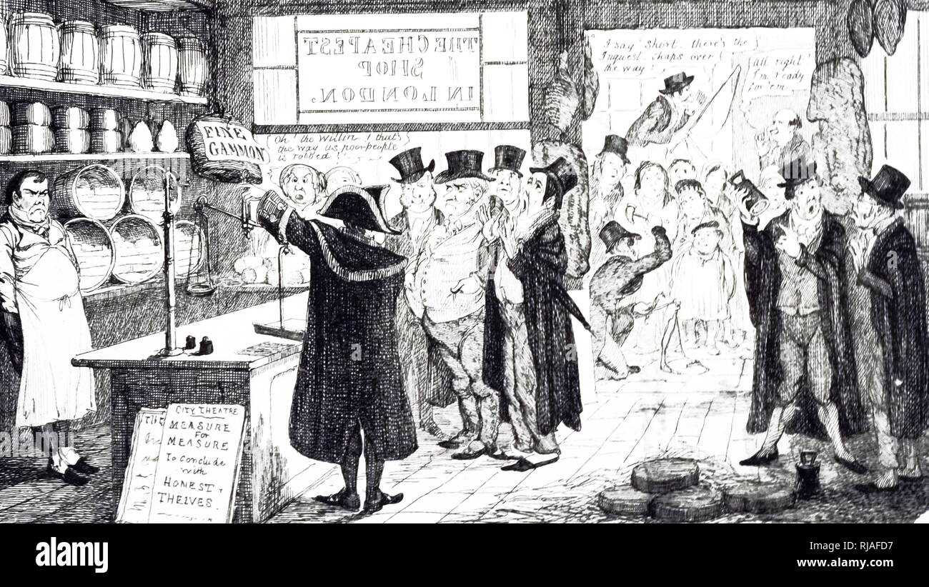 A cartoon commenting on the Wardmote Inquest - checking a grocer's weights and balances: in the doorway, an inaccurate scale is destroyed. The Wardmote officials were responsible for reviewing weights and measurements in London. Illustrated by George Cruikshank (1792-1878) a British caricaturist and book illustrator. Dated 19th century - Stock Image