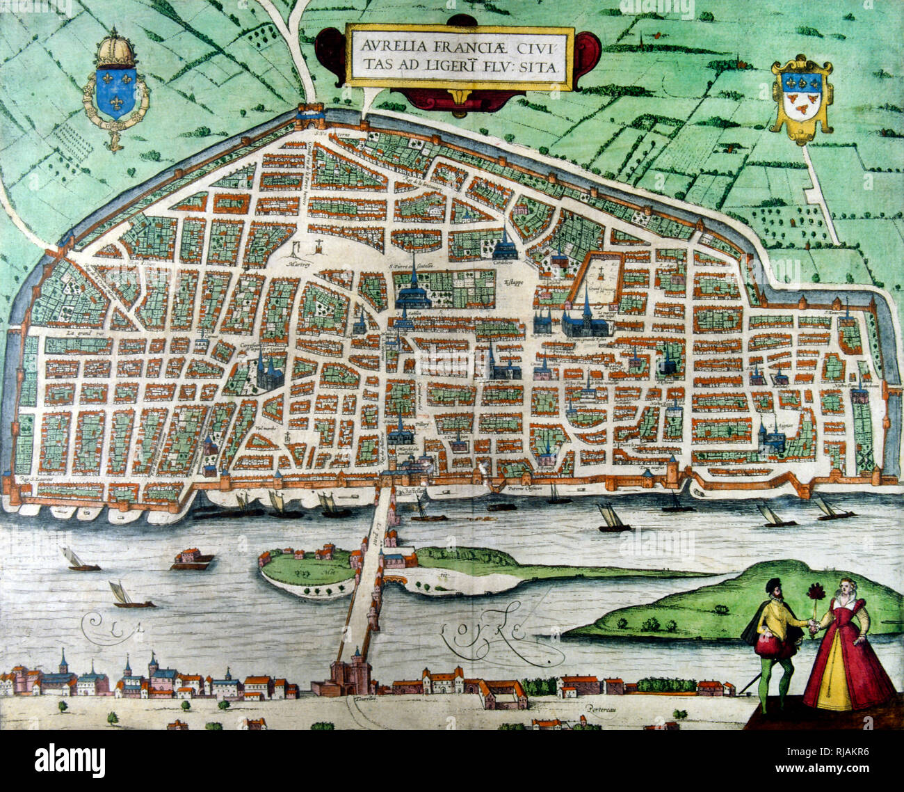 16th century plan of the city of Orleans in France. The city walls are visible. - Stock Image