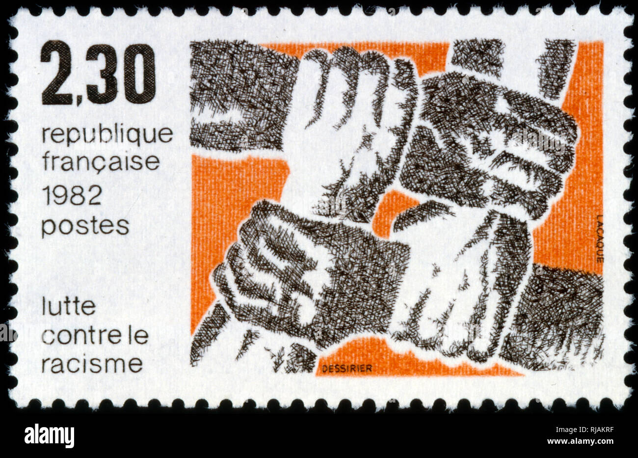 French postage stamp celebrating anti-racism in France 1982 - Stock Image