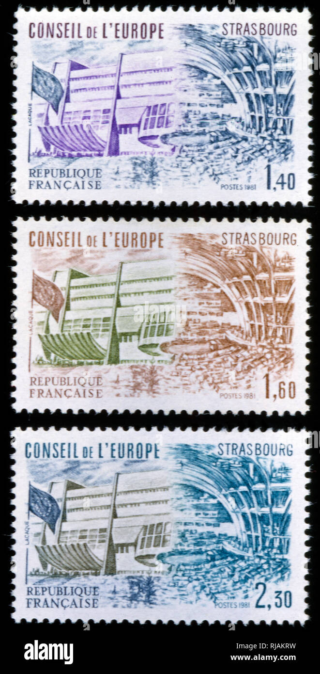 French postage stamps commemorating the Council of Europe 1982. The Council of Europe (Conseil de l'Europe), is an international organisation whose stated aim is to uphold human rights, democracy and the rule of law in Europe. Founded in 1949, it has 47 member states, covers approximately 820 million people - Stock Image