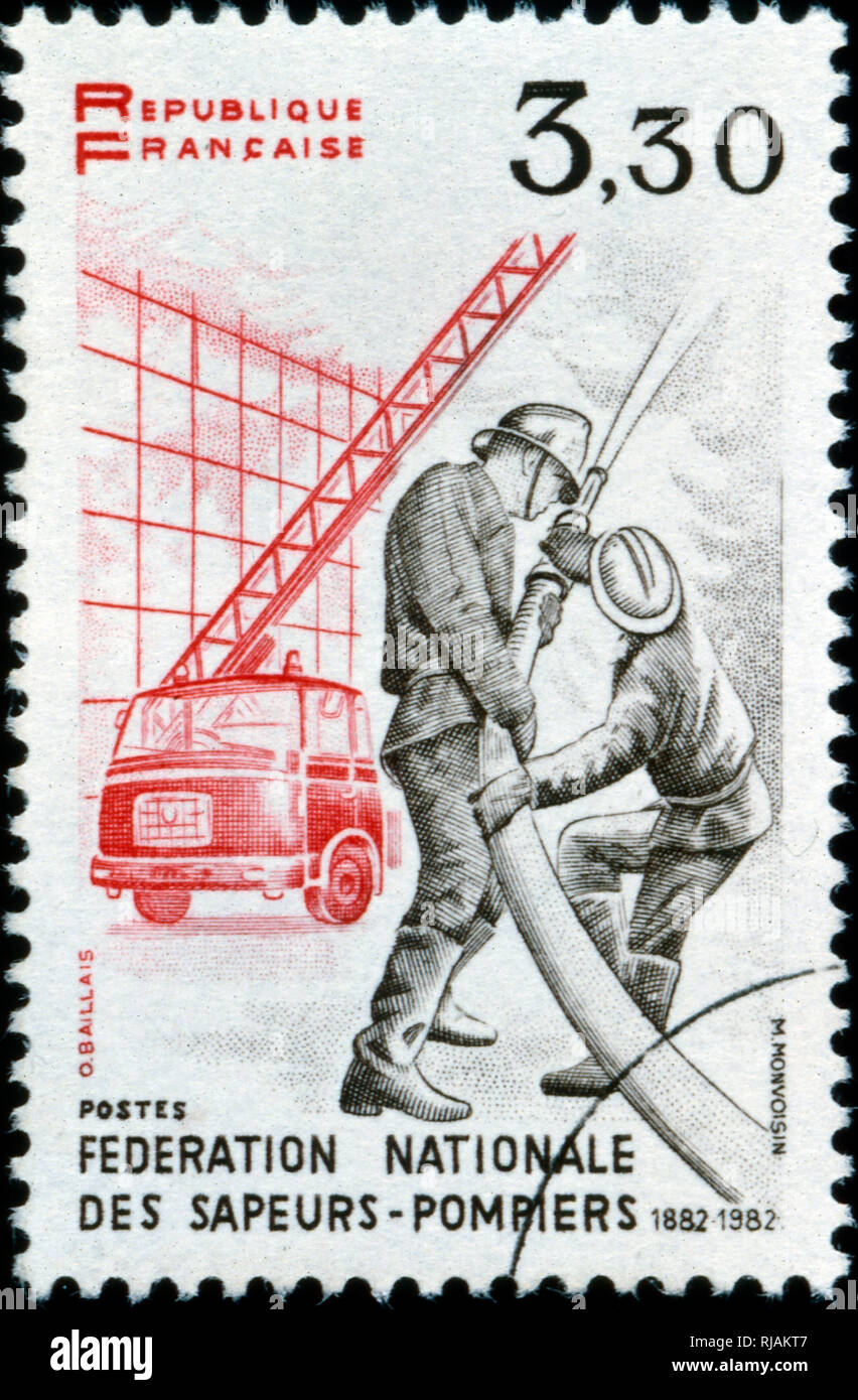 French postage stamp depicting fire-fighters. 1982 - Stock Image