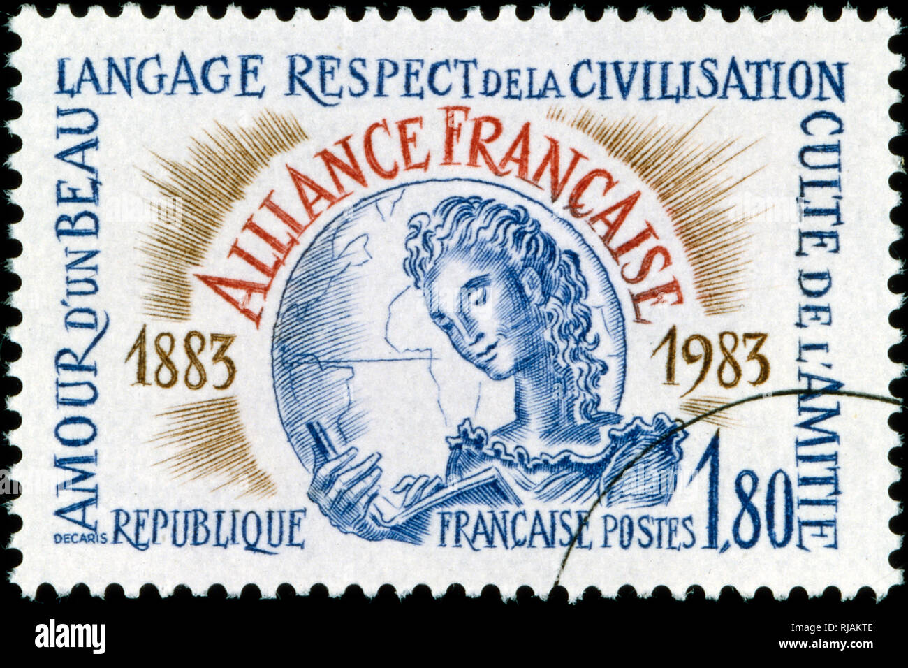 French postage stamp commemorating the Alliance Francaise,  is an international organization that aims to promote French language and culture around the world. 1983 - Stock Image