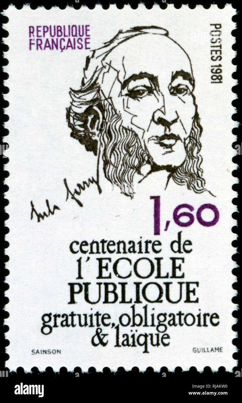 French postage stamp commemorating Jules Ferry (1832 - 1893) a French statesman and republican. He was a promoter of laicism and colonial expansion - Stock Image